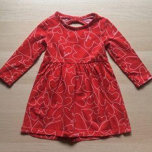 Carter's girls red heart dress 9-12 month